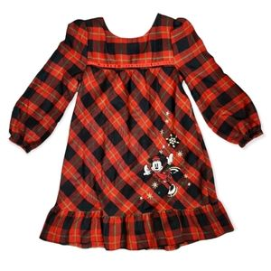 The Disney Store Girls Plaid Minnie Mouse  Holiday Nightgown Sleepwear Size 4